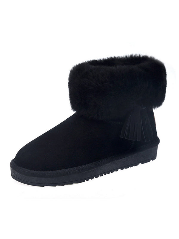 Leather Fringed Booties Snow Boots - Zebrant