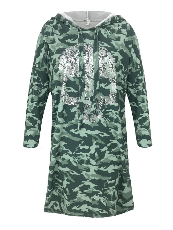 Loose Split-side Printed Hoodie Dress - Zebrant