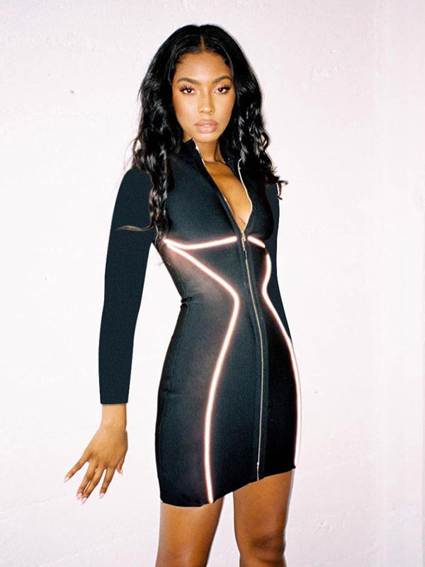 Reflective Hip-Package Zipper Mini Dress - Zebrant
