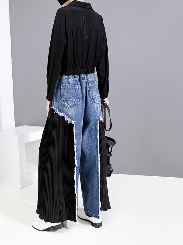 Loose Split-joint Pleated Jean Pants - Zebrant