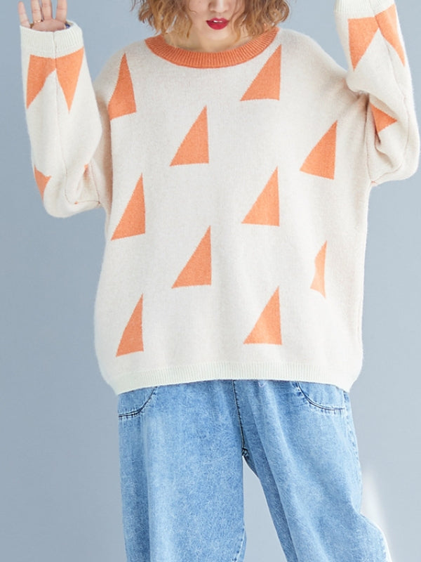 Loose Geometry Printed Sweater - Zebrant