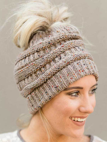 Soft Knit Ponytail Hat