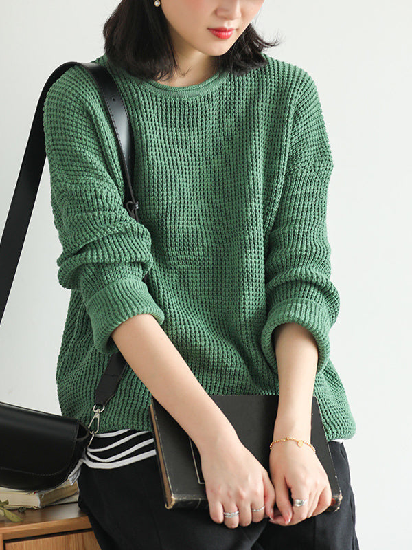 Loose Solid Off-the-shoulder Knitting Sweater - Zebrant