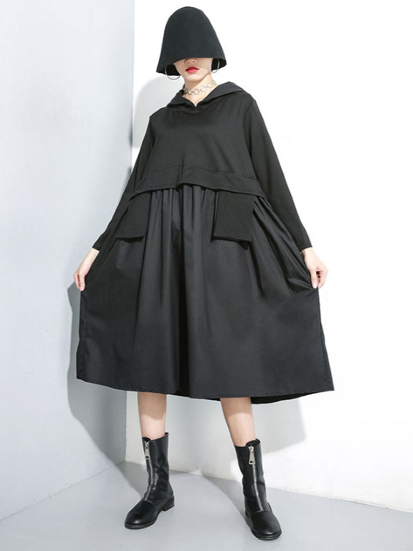 False Two Split-joint Hoodie Dress - Zebrant
