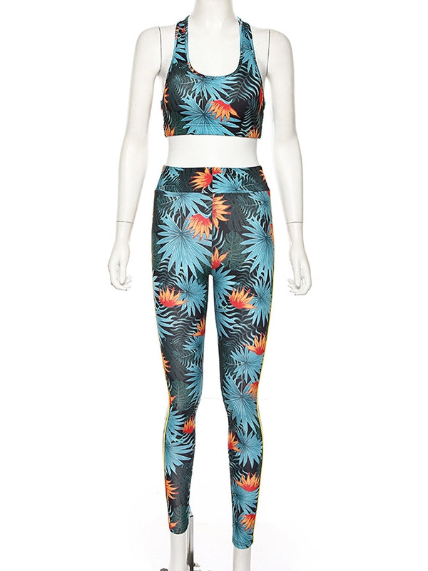 Floral Printed Lift-Hip Tank&Fitness Leggings Suits - Zebrant