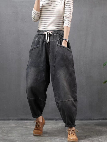 Loose Elastic Waist Thicken Jean Pants - Zebrant