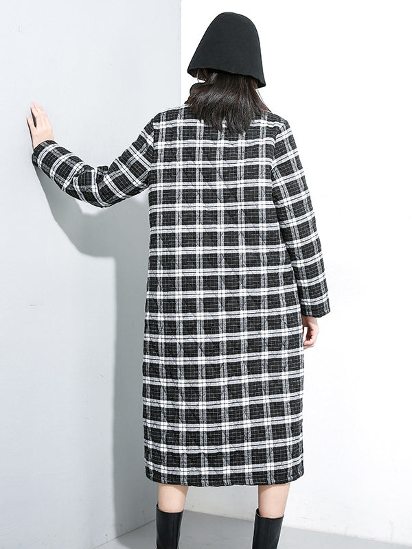 Loose Plaid Cotton-padded Long Dress - Zebrant