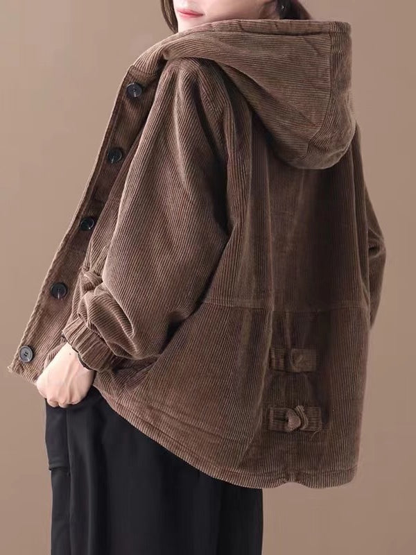Casual Hooded Corduroy Jacket - Zebrant