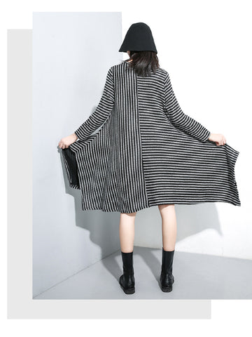 Casual Striped A-line Cropped Long Sleeve Dress - Zebrant