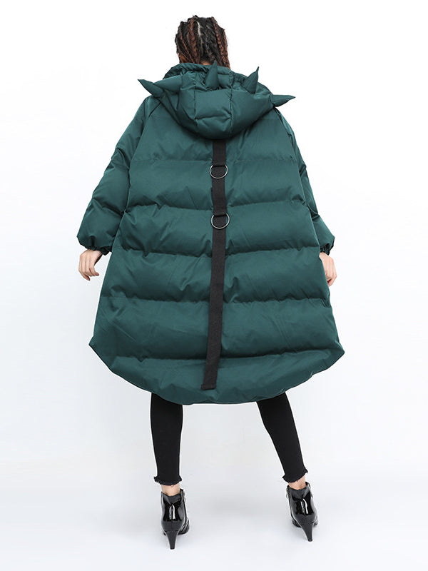 Loose Hooded Lovely Hat Down Jacket - Zebrant