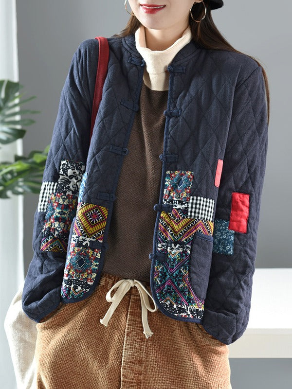 Ethnic Style Stitching Patch Padded Cotton Coat - Zebrant