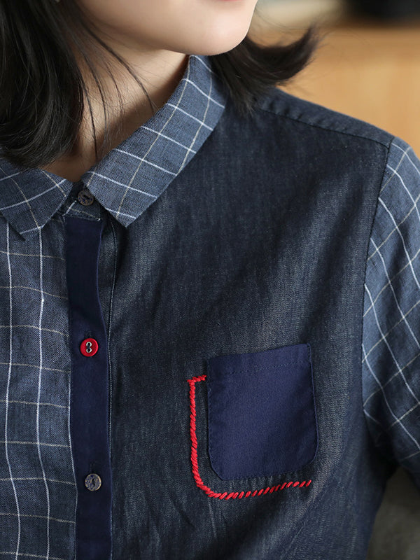 Casual Plaid Split-joint Shirt - Zebrant