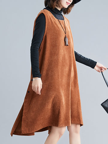 Solid Corduroy Split-side Vest Dress - Zebrant