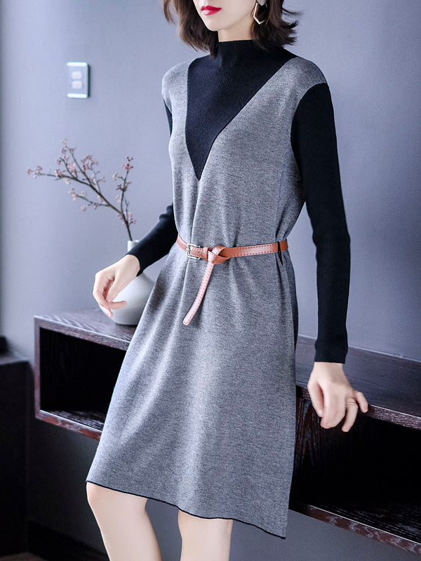 Casual Collect Waist False Two Knitting Dress - Zebrant
