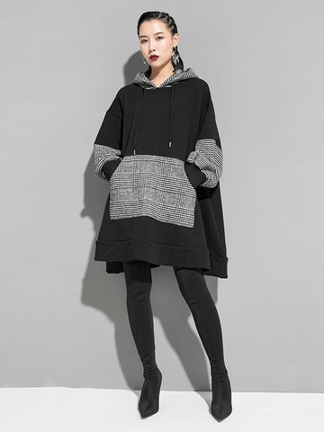 Plain Splicing Plaid Long Hoodie - Zebrant