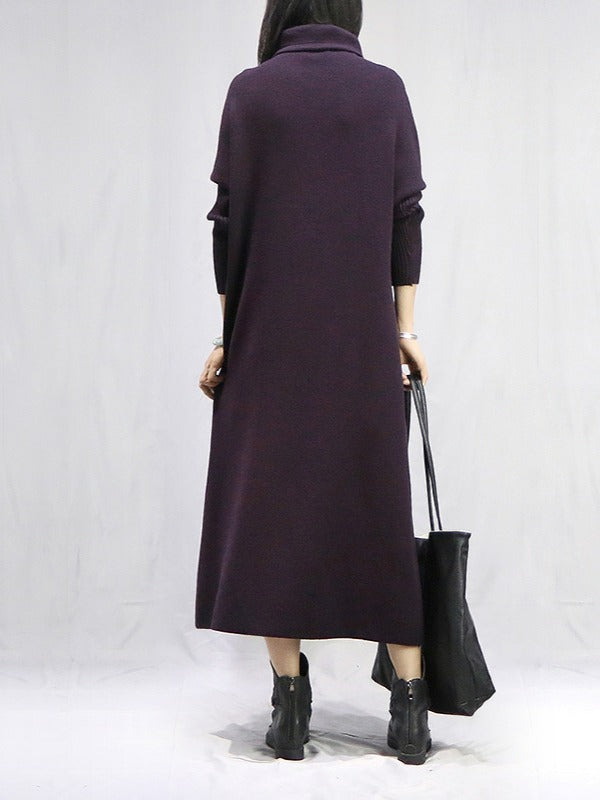 Original Solid High-neck Knitting Wool Dress - Zebrant