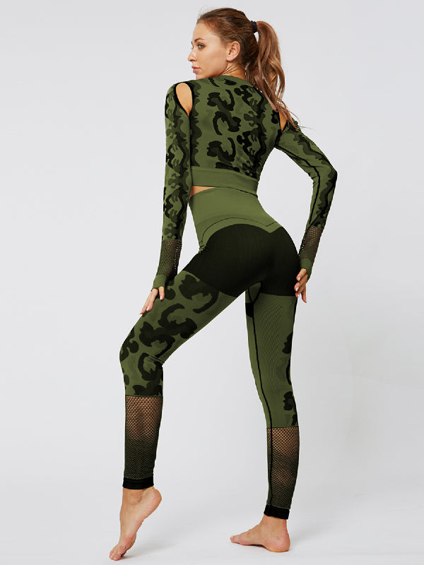 Camouflage Hollow Seamless Tee&Fitness Leggings Suits - Zebrant
