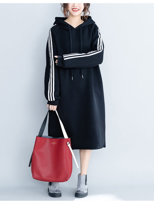Loose Striped Thicken Sweatshirt Dress - Zebrant