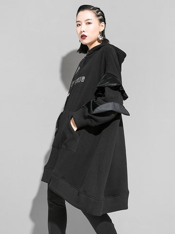 Splicing Falbala Velvet Long Hoodie - Zebrant
