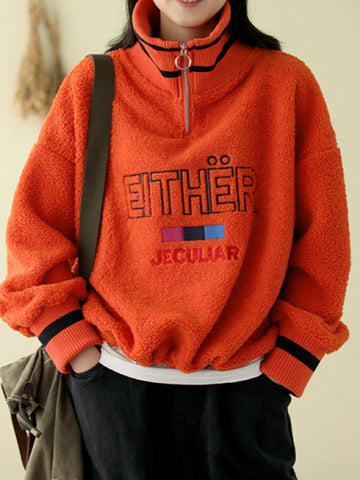 Letter Embroidery Stitching Turtleneck Sweatershirt - Zebrant
