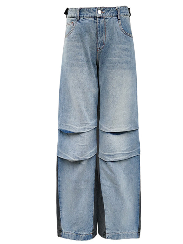 Casual Contrast Color Fold Jean Pants - Zebrant