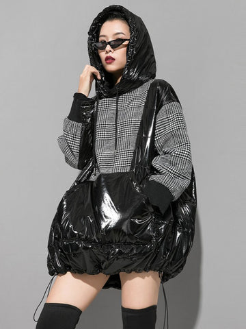 Plaid Stitching Padded Loose Long Hoodie - Zebrant