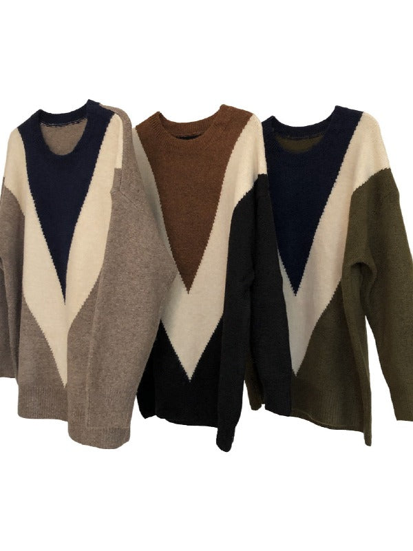 Retro Contrast Color Round-Neck Knit Sweater - Zebrant