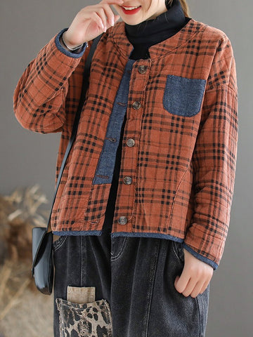 Plaid Loose Casual Quilted Coat - Zebrant
