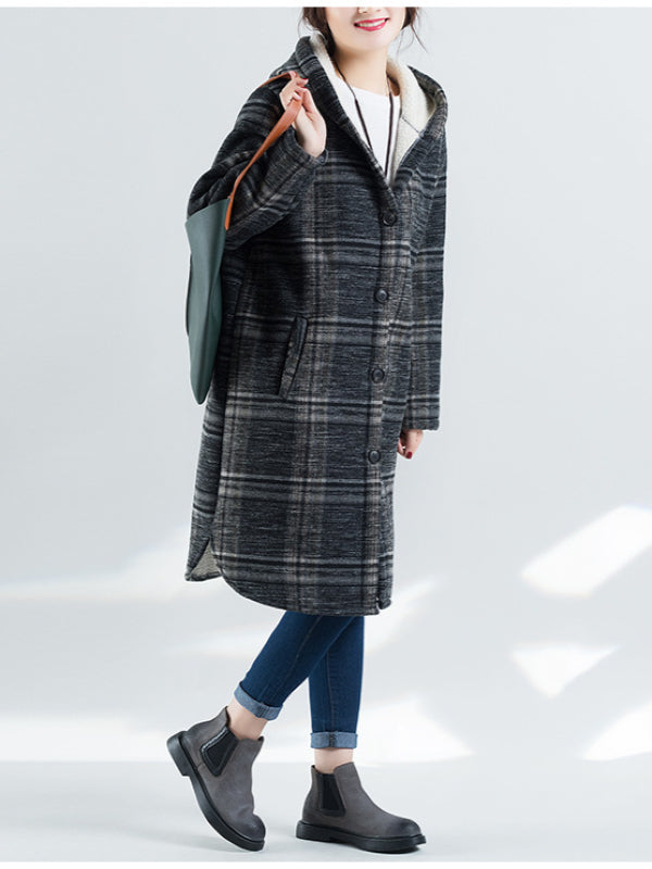 Loose Plaid Thicken Woolen Outwears - Zebrant