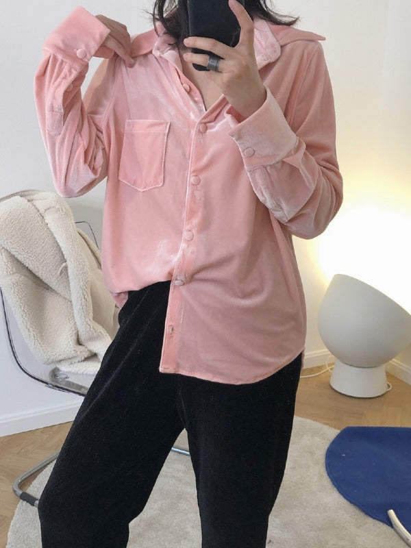 Trendy Loose Long Sleeve Velvet Shirt - Zebrant