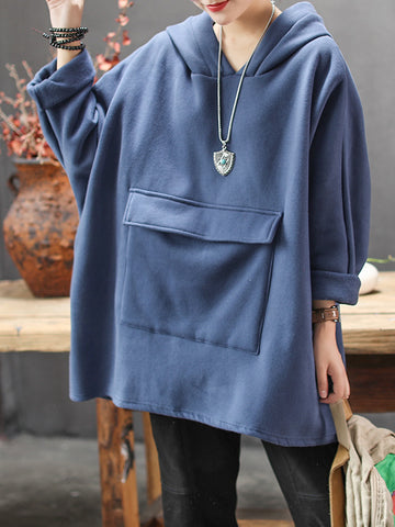 Casual Solid Thicken Big Pocket Sweatshirt - Zebrant