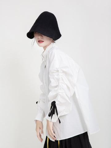 Minority Lantern Sleeves Drawstring Shirt - Zebrant