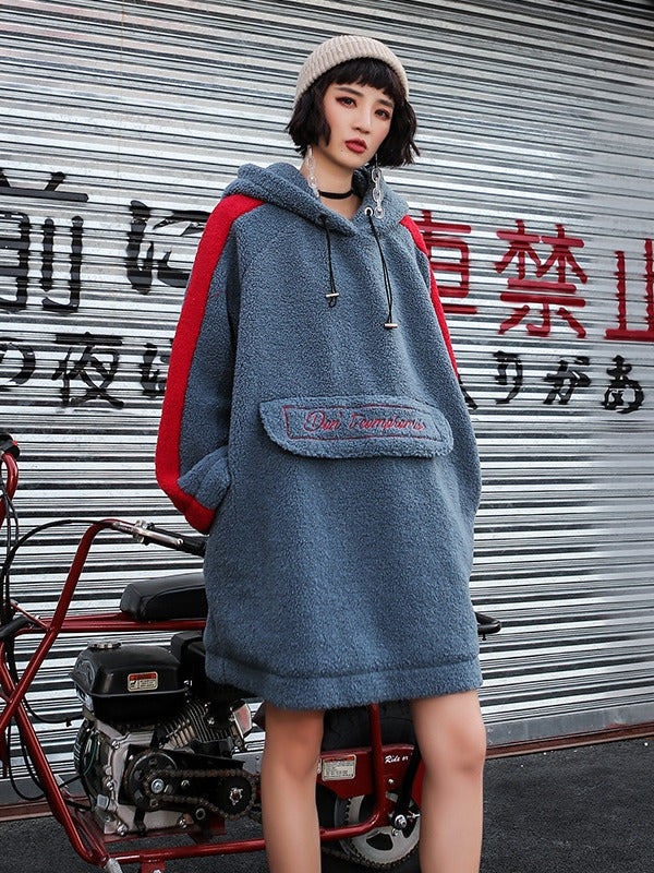 LOOSE EMBROIDERED WOOLEN MID-LENGTH HOODIE - Zebrant