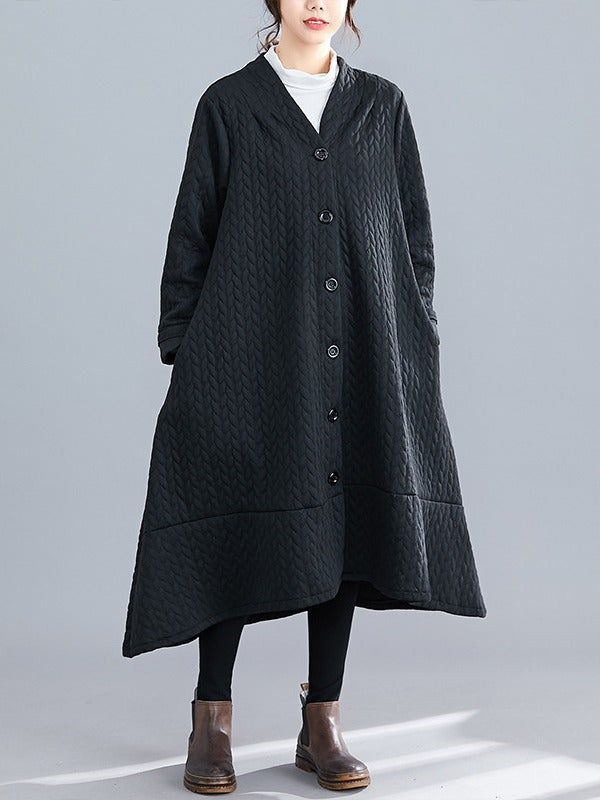 Loose Thick Mid-Length Knit Coat - Zebrant