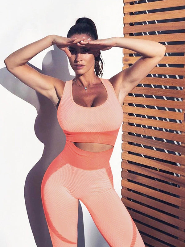 Seamless Backless Tank&Fitness Leggings Suits - Zebrant