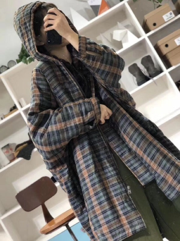 Vintage Plaid Long Hooded Coat - Zebrant