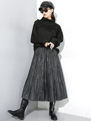 ELASTIC WAIST PLAIN KNITTING WOOL SKIRT - Zebrant