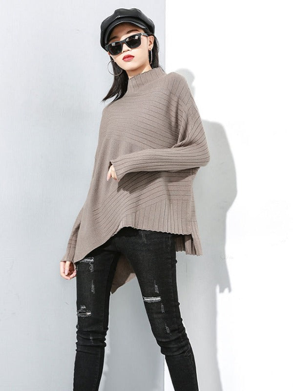 PLAIN CROPPED STRIPED TURTLENECK SWEATER - Zebrant