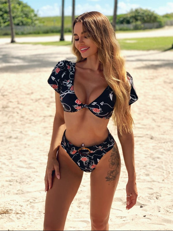 Sexy Knotted Short Sleeves Printing Sash Split Type Bikini Swimsuit - Zebrant