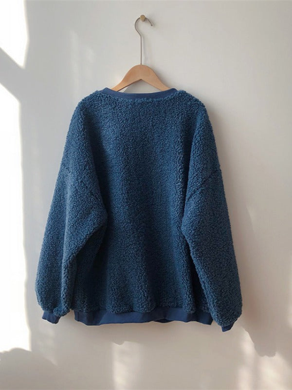 Loose Lamb Wool Thicken Sweatshirt - Zebrant