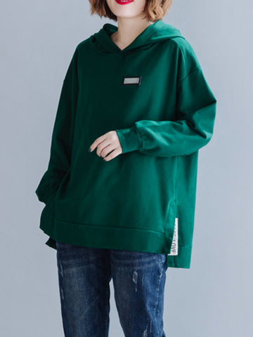 Loose Plain Split-Side Casual Hoodie - Zebrant
