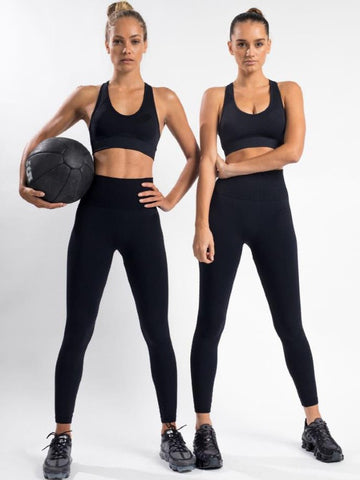 Black Solid Yoga Suits ACTIVE WEAR - Zebrant