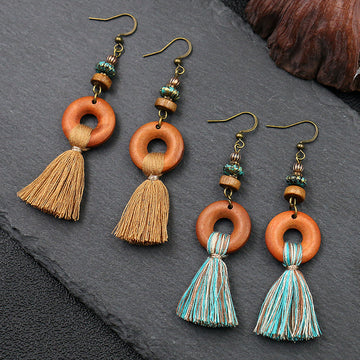 Fashion long flow ingest earrings creative wooden exaggerated earrings WHOLESALE - Zebrant