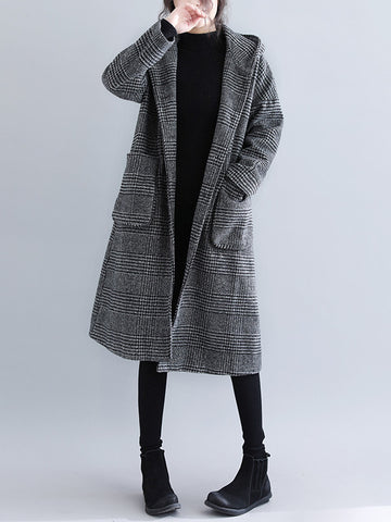 Loose Plaid Woolen Hood Coat - Zebrant