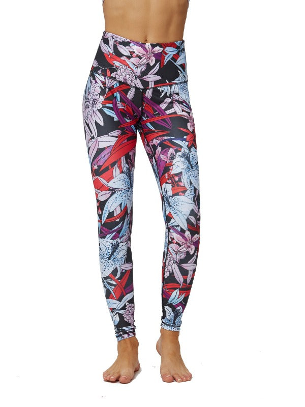Printed Sports High Waisted Leggings ACTIVE WEAR - Zebrant