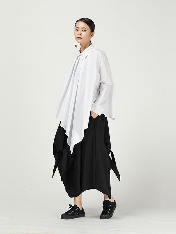 Loose Cropped Solid Color Pleated Shirt - Zebrant