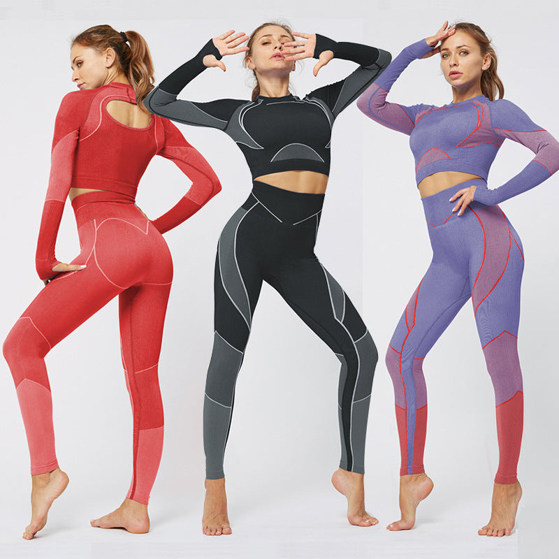 Long Sleeve Gym Sport Hoodie And Leggings Suit ACTIVE WEAR - Zebrant