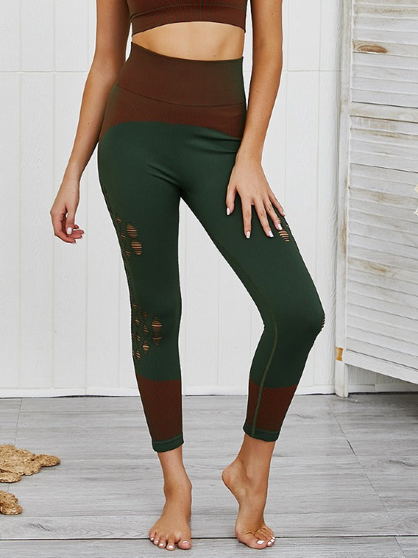 Holes Hollow Seamless Tee&Fitness Leggings Suits ACTIVE WEAR - Zebrant