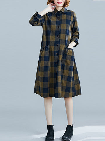 Loose Plaid Shirt Dress - Zebrant