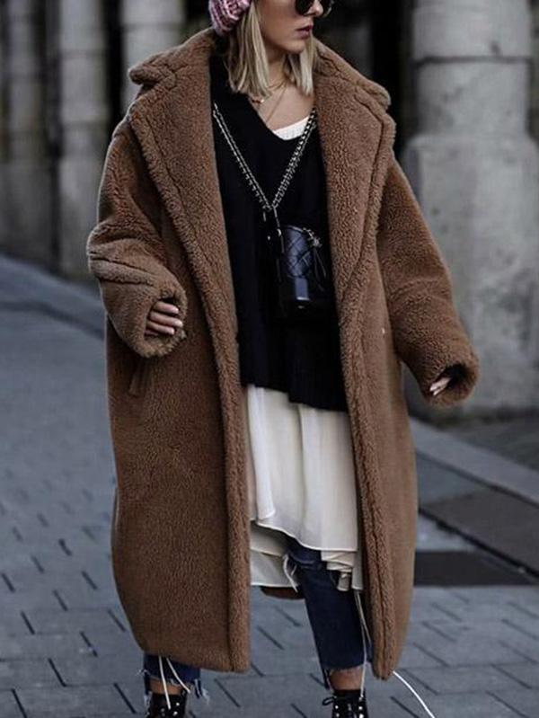 Loose Solid Lapel Fuzzy Coat - Zebrant